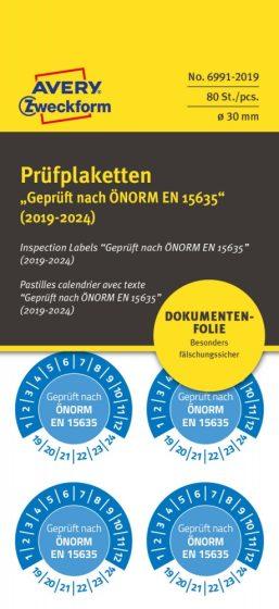 Avery Zweckform No. 6991-2019 kék színű, 30 mm átmérőjű, öntapadós biztonsági hitelesítő címke, 2019-2024-es évszámmal, ÖNORM EN 15635 felirattal - kiszerelés: 80 címke / csomag