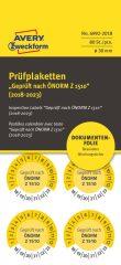 Avery Zweckform No. 6992-2018 sárga színű, 30 mm átmérőjű, öntapadós biztonsági hitelesítő címke, 2018-2023-as évszámmal, ÖNORM Z 1510 felirattal - kiszerelés: 80 címke / csomag