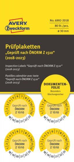 Avery Zweckform 6992-2018 biztonsági hitelesítő címke ÖNORM Z 1510 felirattal