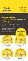 Avery Zweckform No. 6993-2018 sárga színű, 30 mm átmérőjű, öntapadós biztonsági hitelesítő címke, 2018-2023-as évszámmal, ÖVE / ÖNORM E 8701 felirattal - kiszerelés: 80 címke / csomag