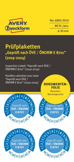 Avery Zweckform No. 6993-2019 kék színű, 30 mm átmérőjű, öntapadós biztonsági hitelesítő címke, 2019-2024-es évszámmal, ÖVE / ÖNORM E 8701 felirattal - kiszerelés: 80 címke / csomag