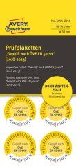 Avery Zweckform No. 6994-2018 sárga színű, 30 mm átmérőjű, öntapadós biztonsági hitelesítő címke, 2018-2023-as évszámmal, ÖVE EN 50110 felirattal - kiszerelés: 80 címke / csomag