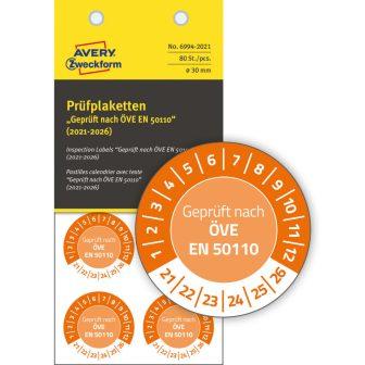 Avery Zweckform 6994-2021 biztonsági hitelesítő címke ÖVE EN 50110 felirattal