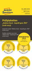 Avery Zweckform No. 6995-2018 sárga színű, 30 mm átmérőjű, öntapadós biztonsági hitelesítő címke, 2018-2023-as évszámmal, Elektro Check, Geprüft nach ÖVE felirattal - kiszerelés: 80 címke / csomag