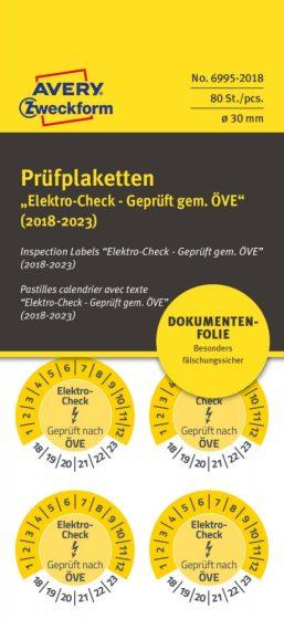 Avery Zweckform 6995-2018 biztonsági hitelesítő címke Elektro Check, Geprüft nach ÖVE felirattal