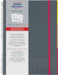 Avery Zweckform Notizio No. 7017 négyzethálós spirálfüzet A4-es méretben, szürke színű műanyag borítóval (Avery 7017)