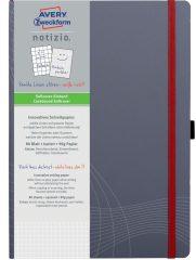 Avery Zweckform Notizio No. 7021 négyzethálós kötött füzet A4-es méretben, szürke színű puhafedeles borítóval (Avery 7021)