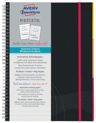 Avery Zweckform Notizio No. 7022 vonalas spirálfüzet A5-ös méretben, sötétszürke színű keményfedeles borítóval (Avery 7022)