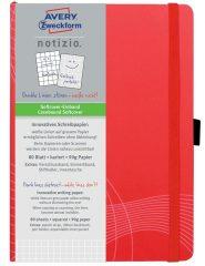 Avery Zweckform Notizio No. 7039 négyzethálós kötött füzet A5-ös méretben, piros színű puhafedeles borítóval (Avery 7039)