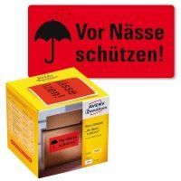 """Avery Zweckform No. 7210 figyelemfelhívó, 100 x 50 mm méretű, """"Vor Nässe schützen!"""" felirattal előre megnyomtatott öntapadós tekercses etikett címke - doboz tartalma: 1 tekercs, 200 darab címke"""