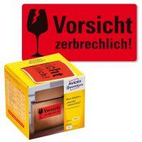 """Avery Zweckform No. 7211 figyelemfelhívó, 100 x 50 mm méretű, """"Vorsicht zerbrechlich!"""" felirattal előre megnyomtatott öntapadós tekercses etikett címke - doboz tartalma: 1 tekercs, 200 darab címke"""