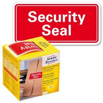 """Avery Zweckform No. 7310 piros színű, 78 x 38 mm méretű, """"Security Seal"""" felirattal előre megnyomtatott öntapadós tekercses biztonsági lezáró címke - doboz tartalma: 1 tekercs, 100 darab címke"""