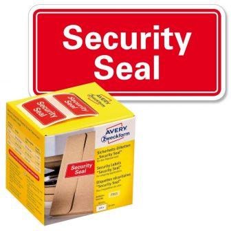 """Avery Zweckform No. 7311 piros színű, 38 x 20 mm méretű, """"Security Seal"""" felirattal előre megnyomtatott öntapadós tekercses biztonsági lezáró címke - doboz tartalma: 1 tekercs, 200 darab címke"""