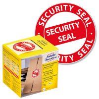 """Avery Zweckform No. 7312 piros színű, 38 mm átmérőjű, """"Security Seal"""" felirattal előre megnyomtatott öntapadós tekercses biztonsági lezáró címke - doboz tartalma: 1 tekercs, 125 darab címke"""