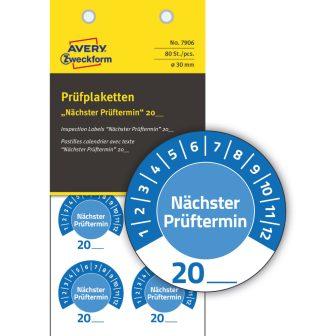 Avery Zweckform 7906 időjárásálló felülvizsgálati címke Nächster Prüftermin felirattal