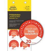 Avery Zweckform 7907 felülvizsgálati címke Geprüft nach DGUV Vorschrift 3 felirattal
