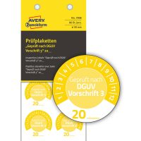 Avery Zweckform 7908 felülvizsgálati címke Geprüft nach DGUV Vorschrift 3 felirattal