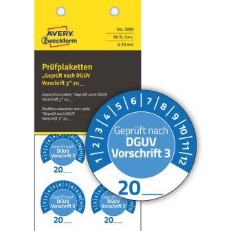 Avery Zweckform 7909 felülvizsgálati címke Geprüft nach DGUV Vorschrift 3 felirattal