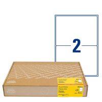 Avery Zweckform No. 8018-300 fehér színű 199,6 x 143,5 mm méretű, univerzálisan nyomtatható, öntapadós címzés címke, permanens ragasztóval A4-es íven - kiszerelés: 600 címke / 300 ív
