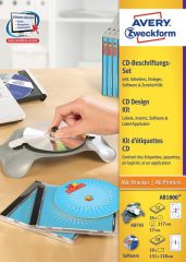 Avery Zweckform No. AB1800 univerzális CD címkéző készlet - CD címke + CD tok betét + szoftver + AB750 központosító eszköz - 10 készlet / csomag (Avery AB1800)
