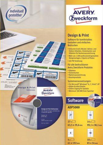 Avery Zweckform No. ADP5000 - Avery Design & Print 5 címketervező szoftver + kezdőkészlet (Avery ADP5000)