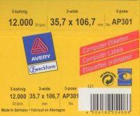 Avery Zweckform No. AP301 leporellós 107 x 36 mm méretű, fehér színű, 3 pályás öntapadó címke mátrix nyomtatókhoz - 12000 címke / doboz (Avery AP301)