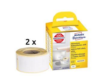 Avery Zweckform No. AS0722370 fehér színű, 89 x 28 mm méretű öntapadó tekercses etikett címke, permanens ragasztóval - doboz tartalma: 2 tekercsen összesen 260 darab címke