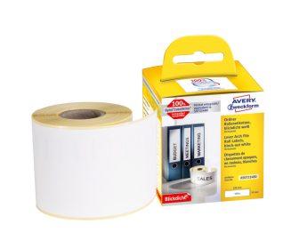 Avery Zweckform No. AS0722480 fehér színű, 190 x 59 mm méretű öntapadó tekercses etikett címke, permanens ragasztóval - doboz tartalma: 1 tekercs, 110 darab címke