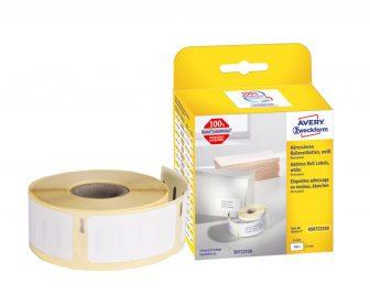Avery Zweckform No. AS0722520 fehér színű, 54 x 25 mm méretű öntapadó tekercses etikett címke, permanens ragasztóval - doboz tartalma: 1 tekercs, 500 darab címke