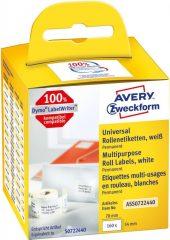 Avery Zweckform No. ASS0722440 fehér színű, 70 x 54 mm méretű öntapadó tekercses etikett címke, permanens ragasztóval - doboz tartalma: 1 tekercs, 160 darab címke