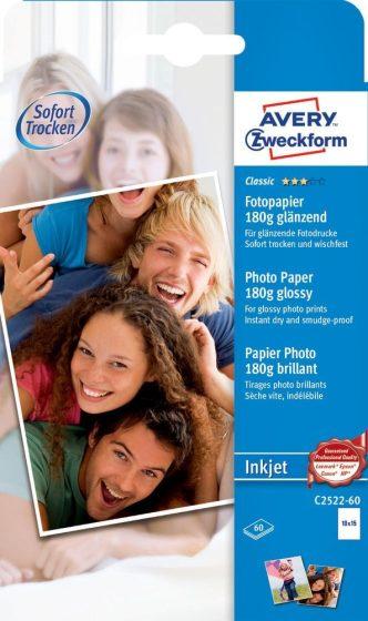 Avery Zweckform No. C2522-60 tintasugaras 100 x 150 mm (A6) méretű, 180 g -os hagyományos fényes fotópapír - 60 ív / doboz (Avery C2522-60)