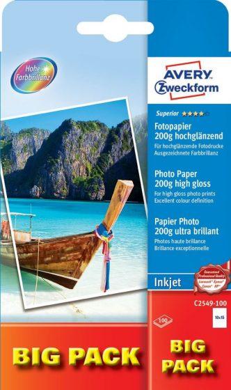 Avery Zweckform No. C2549-100 tintasugaras 100 x 150 mm (A6) méretű, 200 g -os különleges minőségű magasfényű fotópapír - 100 ív / doboz (Avery C2549-100)