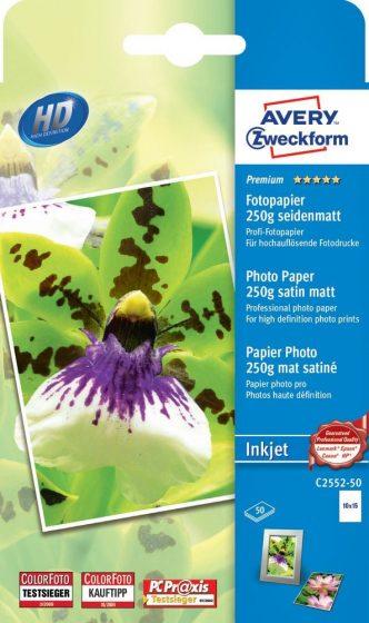 Avery Zweckform No. C2552-50 tintasugaras 100 x 150 mm (A6) méretű, 250 g -os prémium minőségű szatén-matt (selyemfényű) fotópapír - 50 ív / csomag (Avery C2552-50)