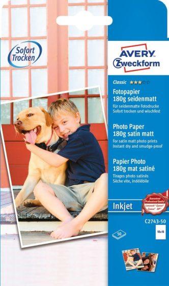Avery Zweckform No. C2743-50 tintasugaras 100 x 150 mm (A6) méretű, 180 g -os hagyományos szatén-matt (selyemfényű) fotópapír - 50 ív / doboz (Avery C2743-50)