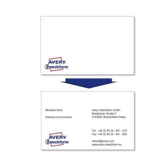 Avery Zweckform No. C32006-500 lézeres 85 x 54 mm méretű, 220 g-os félfényes, kétoldalas fehér nyomtatható névjegykártya, sima élekkel A4-es íven - 4000 névjegykártya / doboz (Avery C32006-500)