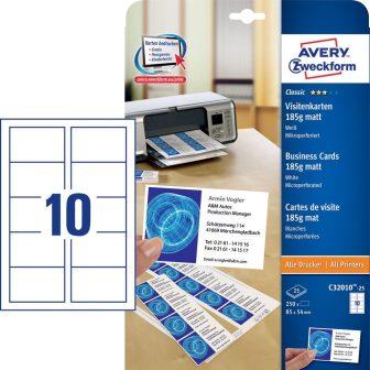 Avery Zweckform No. C32010-25 univerzális 85 x 54 mm méretű, 185 g-os matt, kétoldalas fehér nyomtatható névjegykártya, mikroperforált élekkel A4-es íven - 250 névjegykártya / csomag (Avery C32010-25)