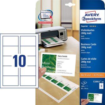 Avery Zweckform No. C32011-10 univerzális 85 x 54 mm méretű, 200 g-os matt, egyoldalas fehér nyomtatható névjegykártya, sima élekkel A4-es íven - 100 névjegykártya / csomag (Avery C32011-10)