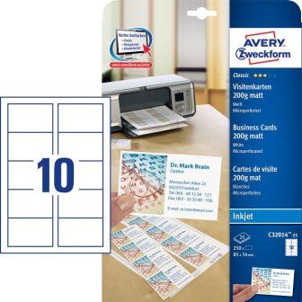 Avery Zweckform No. C32014-25 tintasugaras 85 x 54 mm méretű, 200 g-os matt, egyoldalas fehér nyomtatható névjegykártya, mikroperforált élekkel A4-es íven - 250 névjegykártya / csom. (Avery C32014-25)