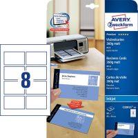 Avery Zweckform No. C32015-10 tintasugaras 85 x 54 mm méretű, 260 g-os matt, kétoldalas fehér nyomtatható névjegykártya, sima élekkel A4-es íven - 80 névjegykártya / csomag (Avery C32015-10)