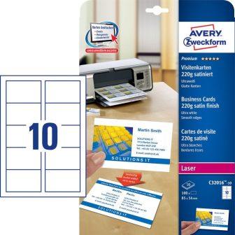 Avery Zweckform No. C32016-10 lézeres 85 x 54 mm méretű, 220 g-os félfényes, kétoldalas fehér nyomtatható névjegykártya, sima élekkel A4-es íven - 100 névjegykártya / csomag (Avery C32016-10)