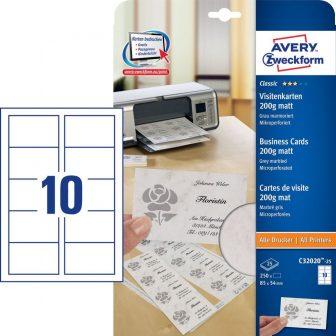 Avery Zweckform No. C32020-25 univerzális 85 x 54 mm méretű, 200 g-os matt, kétoldalas v. szürke nyomtatható névjegykártya, mikroperf. élekkel A4-es íven - 250 névjegykártya / csom. (Avery C32020-25)