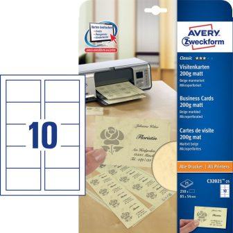 Avery Zweckform No. C32021-25 univerzális 85 x 54 mm méretű, 200 g-os matt, kétoldalas bézs nyomtatható névjegykártya, mikroperf. élekkel A4-es íven - 250 névjegykártya / csom. (Avery C32021-25)