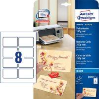 Avery Zweckform No. C32024-10 tintasugaras 85 x 54 mm méretű, 260 g-os matt, kétoldalas fehér nyomtatható névjegykártya, sima élekkel A4-es íven - 80 névjegykártya / csomag (Avery C32024-10)