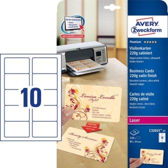 Avery Zweckform No. C32025-25 lézeres 85 x 54 mm méretű, 220 g-os félfényes, kétoldalas fehér nyomtatható névjegykártya, sima élekkel A4-es íven - 250 névjegykártya / csomag (Avery C32025-25)