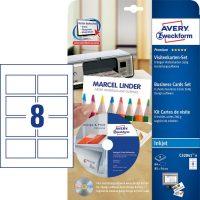 Avery Zweckform No. C32041-8 tintasugaras 85 x 54 mm méretű, 260 g-os matt, kétoldalas fehér nyomtatható névjegykártya készlet, sima élekkel A4-es íven - 64 névjegykártya / csomag (Avery C32041-8)