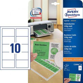 Avery Zweckform No. C32094-10 univerzális 85 x 54 mm méretű, 220 g-os matt, egyoldalas világosszürke márványmintás nyomtatható névjegykártya, sima élekkel A4-es íven (Avery C32094-10)