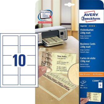 Avery Zweckform No. C32095-10 univerzális 85 x 54 mm méretű, 220 g-os matt, egyoldalas bézs márványmintás nyomtatható névjegykártya, sima élekkel A4-es íven (Avery C32095-10)