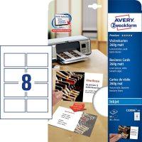 Avery Zweckform No. C32096-10 tintasugaras 85 x 54 mm méretű, 260 g-os matt, kétoldalas fehér nyomtatható névjegykártya, sima élekkel A4-es íven - 80 névjegykártya / csomag (Avery C32096-10)
