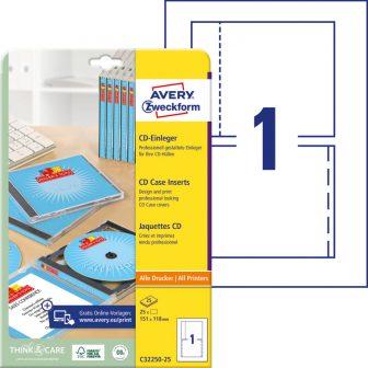 Avery Zweckform No. C32250-25 univerzális 151 x 118 mm méretű, CD tok betét mikroperforált élekkel A4-es íven - 25 CD tok betét / csomag - 25 ív / csomag (Avery C32250-25)