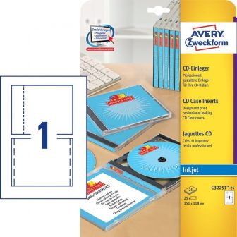 Avery Zweckform No. C32251-25 tintasugaras 151 x 118 mm méretű, CD tok betét mikroperforált élekkel A4-es íven - 25 CD tok betét / csomag - 25 ív / csomag (Avery C32251-25)